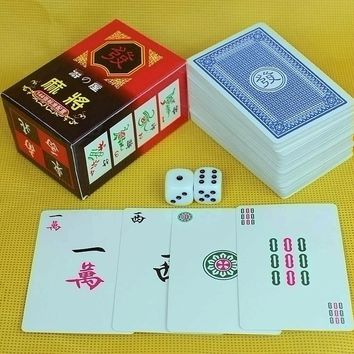 Mahjong Games Set Travelling Mah-jong 144 Cards +2 Dice Chinese Traditional Classic Card Games Board Games