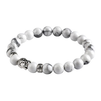 Natural Stone Silver Buddha Charm Bracelet Tiger Eye Beads Bracelets For Women and Men Fashion Jewelry mujer pulseras CS16