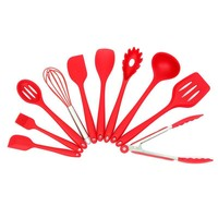 10 Pcs/Set Kitchen Silicone Cooking Utensils Set with Spoon Spatula & more