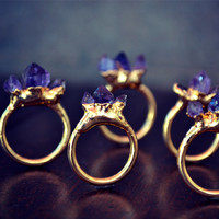 AMETHYST MOUNTAIN /// Stackable Gemstone Gold by luxdivine on Etsy