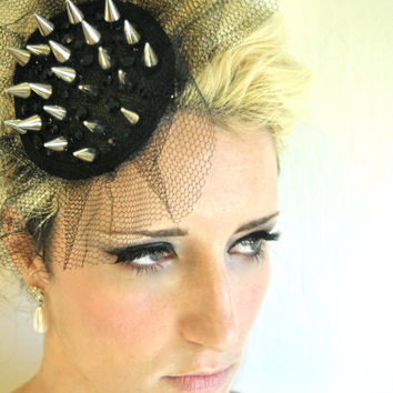 The Bowie Black Hat Fascinator with Metal Spikes Rhinestones and Netting
