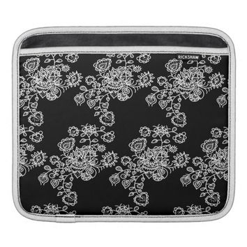 Monochrome Girly Lace Pattern iPad Sleeve