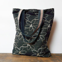 navy blue jeans tote bag marketbag shopping bag denim embroidered shoulderbag everdaybag