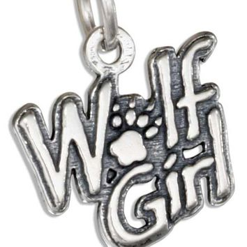 """Wolf Girl"" Charm - Sterling Silver Pendant"