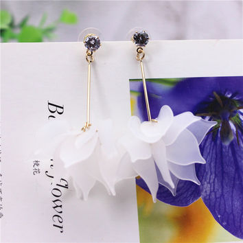 2017 new fashion brand jewelry Imitation crystal big Maple Leaf Flowers earrings Summer style earring for women gift