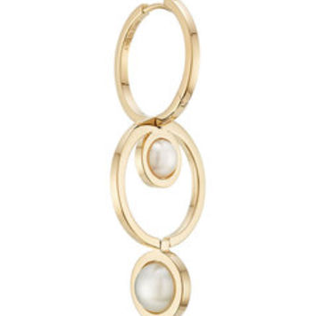 Seal 18kt Yellow Gold Double Hoop Earring - Delfina Delettrez | WOMEN | US STYLEBOP.COM