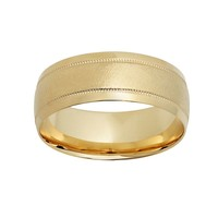 10k Gold Striped Wedding Band - Men (Yellow)