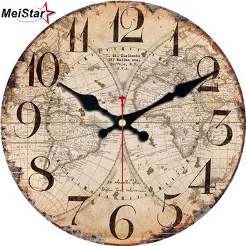 MEISTAR Antique Clocks Silent World Map Sailboat Design Clock Home Decor For Office Study Kitchen Large Art Wall Clocks
