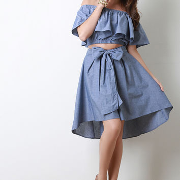 Chambray Bow A-Line Skirt