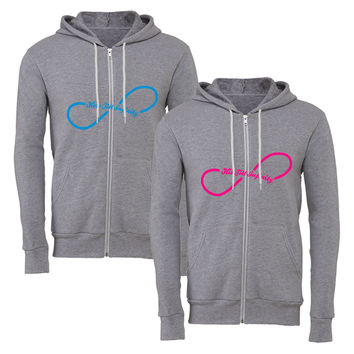his till infinity hers til infinity matching couple zipper hoodie