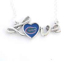 Florida Gators NCAA Love Script Silver Necklace