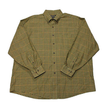 Vintage Brooks Brothers Plaid Houndstooth Wool Blend Button Down Shirt Menswear Mens Size XL