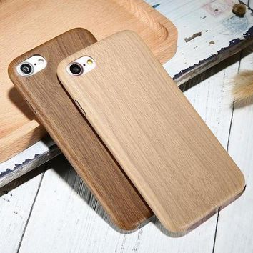 Retro Wood Pattern Leather iPhone Case