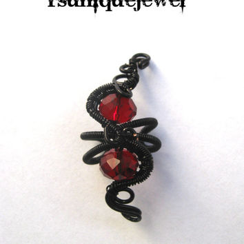 Wire Wrapped Red Glass Beads Ear Cuff, Versatile Earcuff, Cartilage Earring, No Piercing