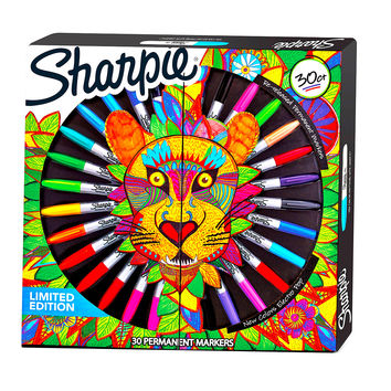 Sharpie Limited Edition Lion Box Permanent Markers Assorted Colors 30 Count 1952651