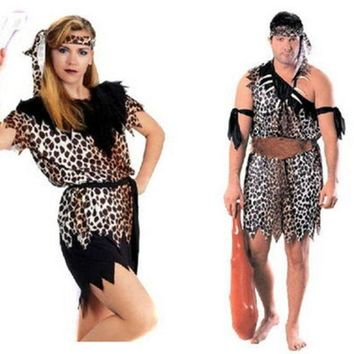 ESBON Halloween Indian Leopard Couple Costume [9032997511]