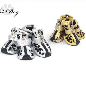 Free Shipping Chicdog New Leather Dog Shoes Gold Zebra Print Teddy Shoes Waterproof Do