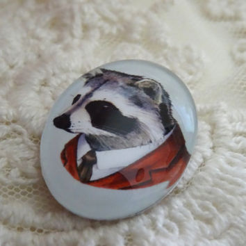 1-  Raccoon Cabochon Oval 25 x 18mm Glass Animal Cameo Animals in Clothes Cabochon Dome Button Unisex Craft Jewelry Making Supplies