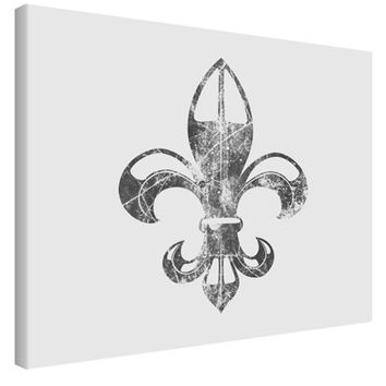 Distressed Fleur de Lis Printed Canvas Art Landscape - Choose Size