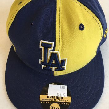 LOS ANGELES DODGERS MLB NEW ERA 5950 UNIQUE BLUE & GOLD  FITTED HAT