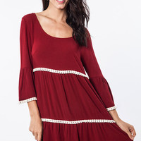 Three Tier Bell Sleeve Dress