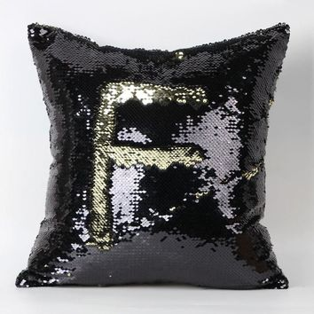 Sequins 40X40CM Color Glitter Sequins Throw Pillow Case
