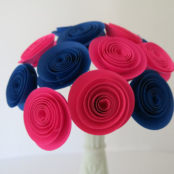 Gender Reveal Decorations 12 Hot Pink & Royal Blue Paper Flowers, Table Centerpiece, Boy or Girl Baby Shower Decor, Nursery Art wedding gift