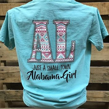 Southern Chics Alabama State AL Small Town Girl Aztec Comfort Colors Girlie Bright T Shirt