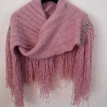 Chanel Pink Wool Cashmere Knit Embellished Pearl & Beaded Long Fringe Scarf