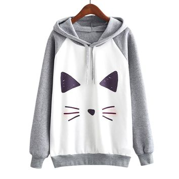 Women Casual Print Cartoon Cute Cat Sweatshirt Long Sleeve Fashion Hooded Pullover Gray Jumper Sweatshirt Tops Blouse For Ladies