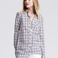 Banana Republic Womens Soft Wash Gray Plaid Boyfriend Shirt