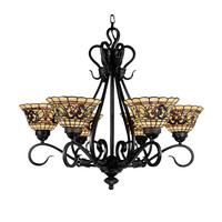 ELK Tiffany Buckingham 6-Light Chandelier In Vintage Antique With Tiffany Style Glass - 366-VA