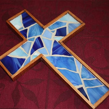 Blue Mosaic Wooden Cross, Small Blue Stained Glass Wall Cross