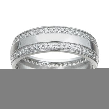 925 Sterling Silver Mens Wedding Band 0.75 Carat weight - Size 11