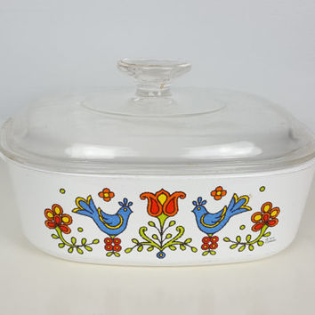 Vintage Corning Ware Country Festival Friendship 2 Quart with Lid, Bakeware, Casserole Dish, Corning Ware Rooster, Blue Birds, Vintage Decor