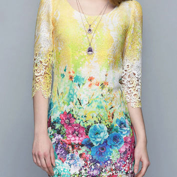 Yellow Floral Lace Scoop Neckline 3/4 Sleeve Mini Dress