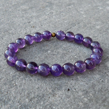 Amethyst Gemstone Yoga Mala Bracelet