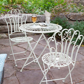 3-Piece Folding Metal Outdoor Patio Furniture Bistro Set in Matte Ivory White