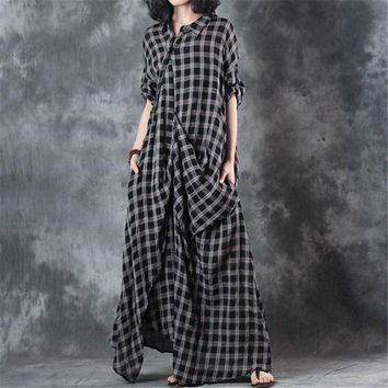 Vintage Irregular Drape Cotton Linen Plaid Maxi Shirtdress