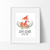 Stay Clever Little Fox Watercolor Art Print
