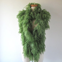 Felt Fur Curly scarf Green Brown Hand Felted Pure Real Wool Fleece by Galafilc Organic and Cruelty Free