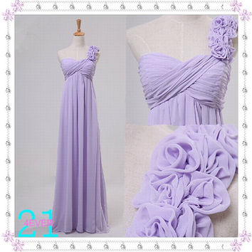 Lilac Bridesmaid Dresses, Purple Bridesmaid Dress, Long Pink One Shoulder Bridesmaid Dress, Lilac Prom/Evening Dress,Sexy Bridesmaid Dress