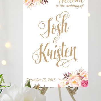 Wedding Welcome Sign - Large Wedding Poster - Romantic Blooms - Pretty Antique Gold Script - Personalized - I Create and You Print