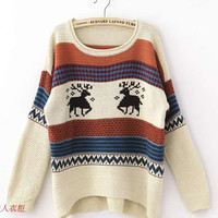 *Free Shipping* Beige Women Knitting Sweater One Size ZQ13141be