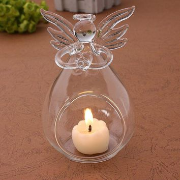 Angel Designed Glass Hanging Tea Light Candle Holder Home Decor Party Supplies