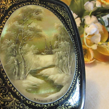 Hand Painted Lacquer Box, Fedoskino Lacquer Box, Collectible Box, Gift for Her, Gift for HimWinter Scene Box, laslovelies