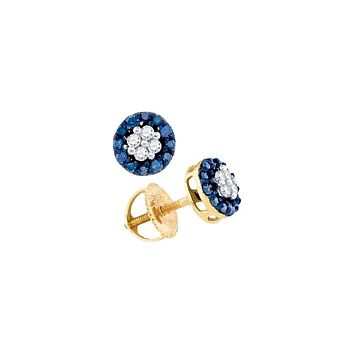 10k Yellow Gold Blue Colored Round Cluster Diamond Womens Screwback Stud Earrings 1/3 Cttw