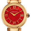 Women's Versace 'Leda' Mother-of-Pearl Dial Leather Strap Watch, 38mm