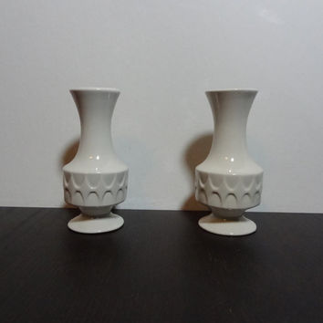 Vintage Set of 2 Egg Shell White Small Ceramic Bud Vases with Modern Danish Style Design - Mid Century Modern