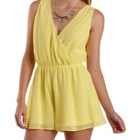 Yellow Strappy Chiffon Wrap Romper by Charlotte Russe
